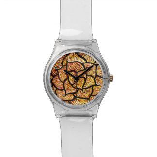 Abstract Orange Flower Watch
