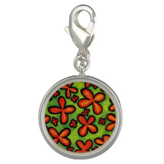 Abstract Orange Flowers Charm