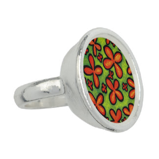 Abstract Orange Flowers Ring