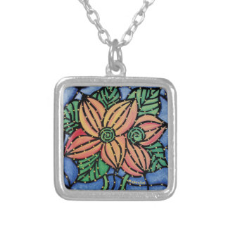 Abstract Orange Flowers Silver Plated Necklace