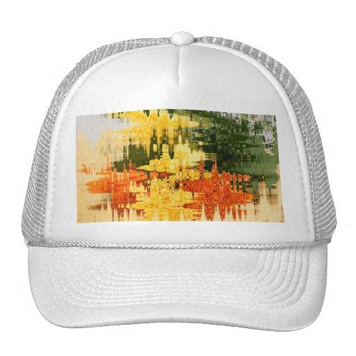 abstract orange trucker hat