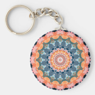 Abstract Orange Mandala Key Ring