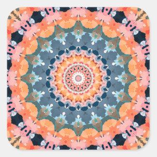Abstract Orange Mandala Square Sticker