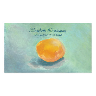 Abstract Orange Sphere Still Life in Watercolor Business Card Template