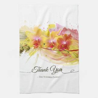 Abstract Orchids Color Splash Calligraphy Tea Towel