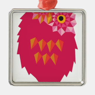 Abstract Owl Silver-Colored Square Decoration