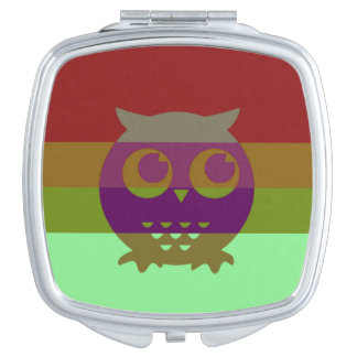 Abstract Owl Square Compact Mirror