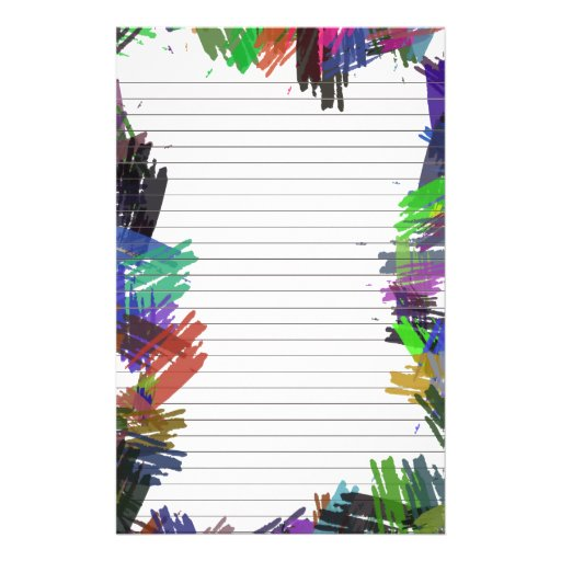 Abstract Paint Lined Paper for Notes Stationery