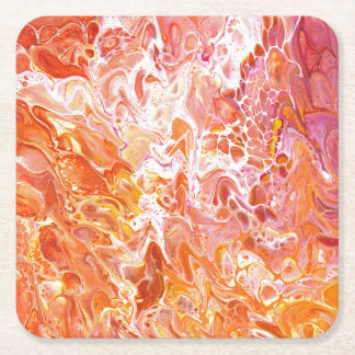 Abstract paint poured orange square paper coaster