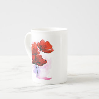 Abstract painted floral background 2 bone china mug
