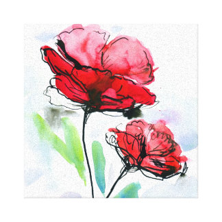 Abstract painted floral background 2 stretched canvas prints