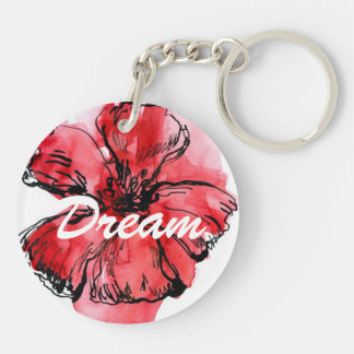 Abstract painted floral background 4 Double-Sided round acrylic key ring