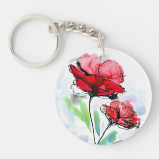 Abstract painted floral background Double-Sided round acrylic key ring