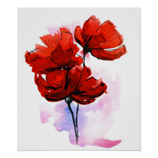 Abstract painted floral background poster