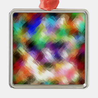 Abstract Painterly Spectrum Silver-Colored Square Decoration