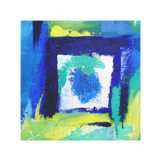 Abstract Painting Expressionism Blue Green Colors Canvas Prints
