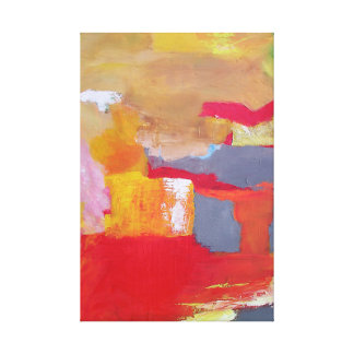 Abstract Painting Expressionism Clouds Red Orange Gallery Wrapped Canvas