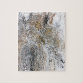 Abstract Painting Gray Black Gold White Artwork Jigsaw Puzzle