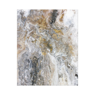 Abstract Painting Grey Black Gold White Artwork Canvas Print
