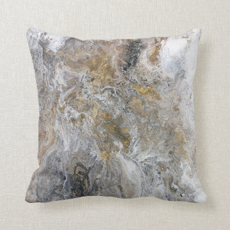Abstract Painting Grey Black Gold White Artwork Cushion