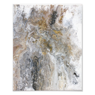 Abstract Painting Grey Black Gold White Artwork Photo Print