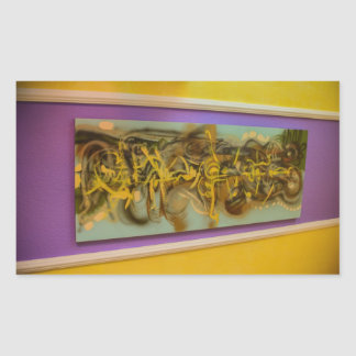 Abstract painting on a wall rectangular sticker
