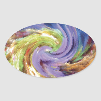 Abstract Painting Swirl Oval Sticker