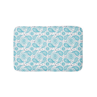 abstract paisley doodle teal pattern. bath mat