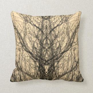 Abstract pale yellow tree vein modern art pillow