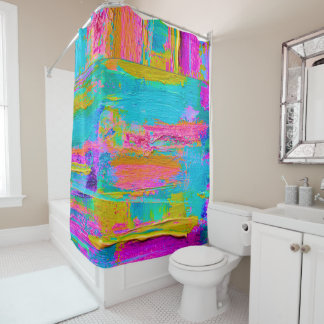 Abstract Palette Knife Painting Shower Curtain 2