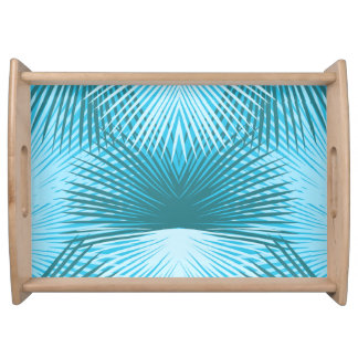 Abstract Palm Leaves Aqua Serving Tray