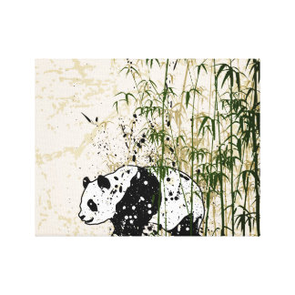 Abstract panda in bamboo forest canvas print