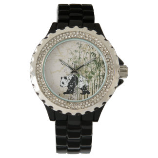 Abstract panda in bamboo forest watch