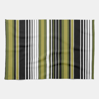 abstract parallel green lines stripes pattern tea towel