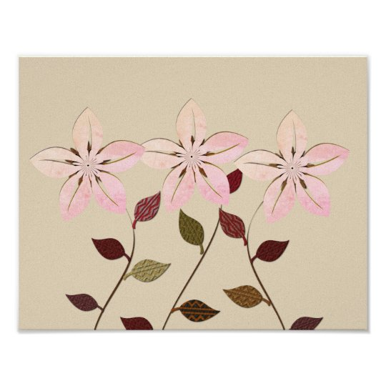 Abstract Paste Pink Flowers Collage Poster
