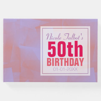 Abstract Pastel 50th Birthday guest Book