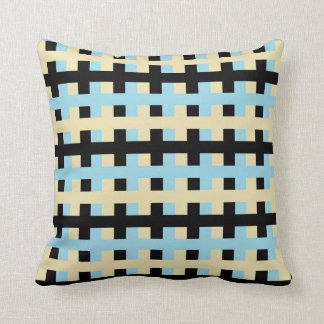Abstract Pastel Blue, Beige and Black Cushion