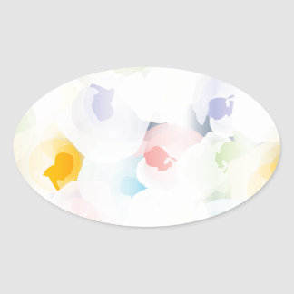 Abstract Pastel Floral Oval Sticker