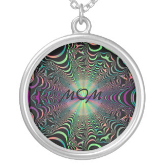 Abstract Pastel Fractal Web Mom Necklace