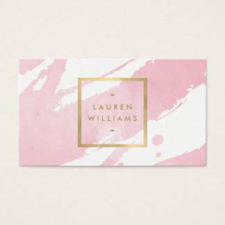 Abstract Pastel Pink Watercolor Brushstrokes Business Card