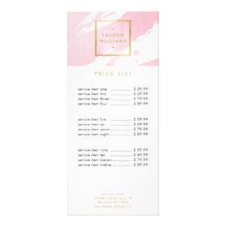 Abstract Pastel Pink Watercolor Brushstrokes Custom Rack Card