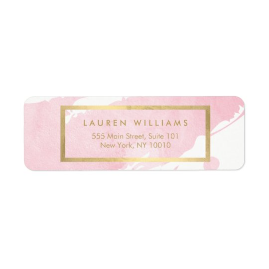 Abstract Pastel Pink Watercolor Brushstrokes Return Address Label