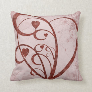 Abstract Patern and Hearts Throw Pillow