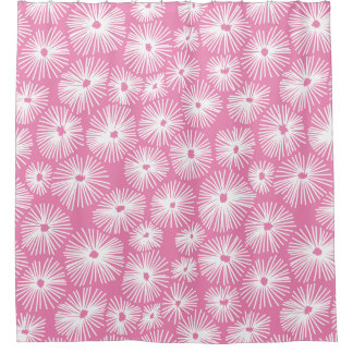 Abstract Pattern 101115 - White on Pink ef84b4 Shower Curtain