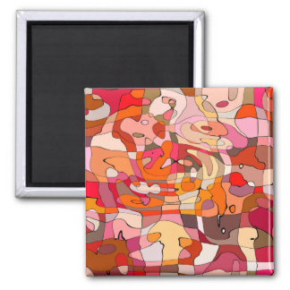 Abstract Pattern Artistic Red Brown Contours Magnet