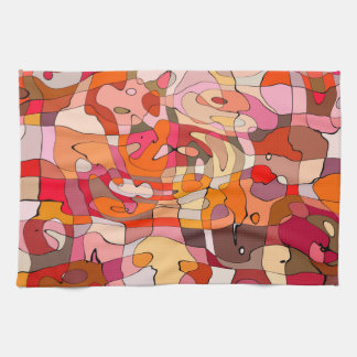 Abstract Pattern Artistic Red Brown Contours Towel