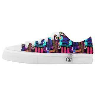 Abstract  pattern blue  pink low tops