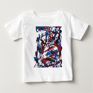 Abstract pattern blue, red, black, white. Modern. Baby T-Shirt