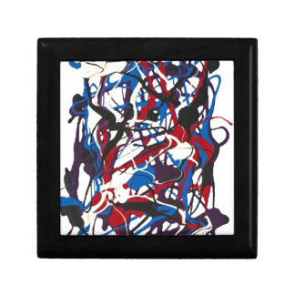Abstract pattern blue, red, black, white. Modern. Gift Box