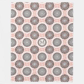 Abstract Pattern custom monogram fleece blankets